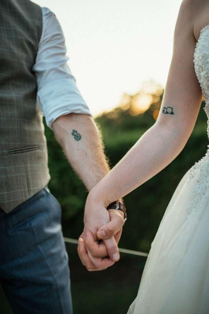 Párové tetování ženich a nevěsta svatba Brněnská přehrada, Brno